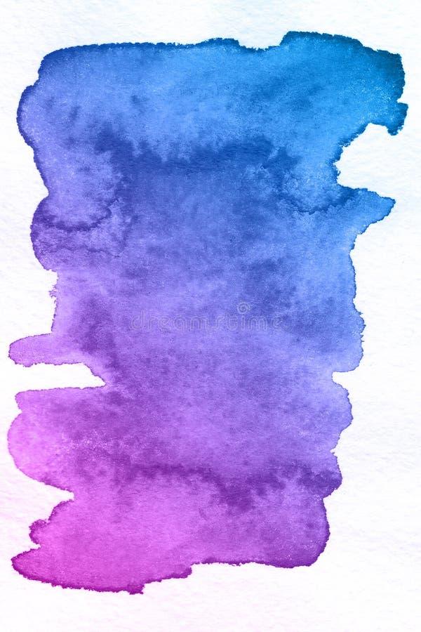 Kunst Blauer und violetter Hintergrund des Aquarells Schöner Planet stockbilder