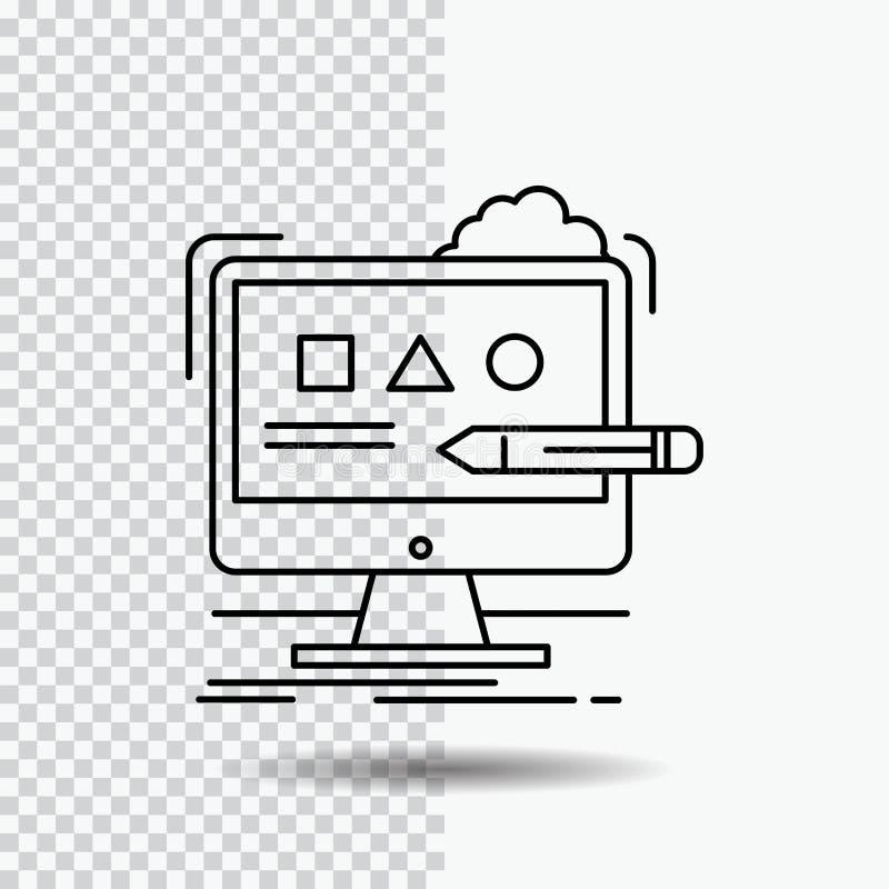 Kunst, computer, ontwerp, digitaal, het Pictogram van de studiolijn op Transparante Achtergrond Zwarte pictogram vectorillustrati royalty-vrije illustratie