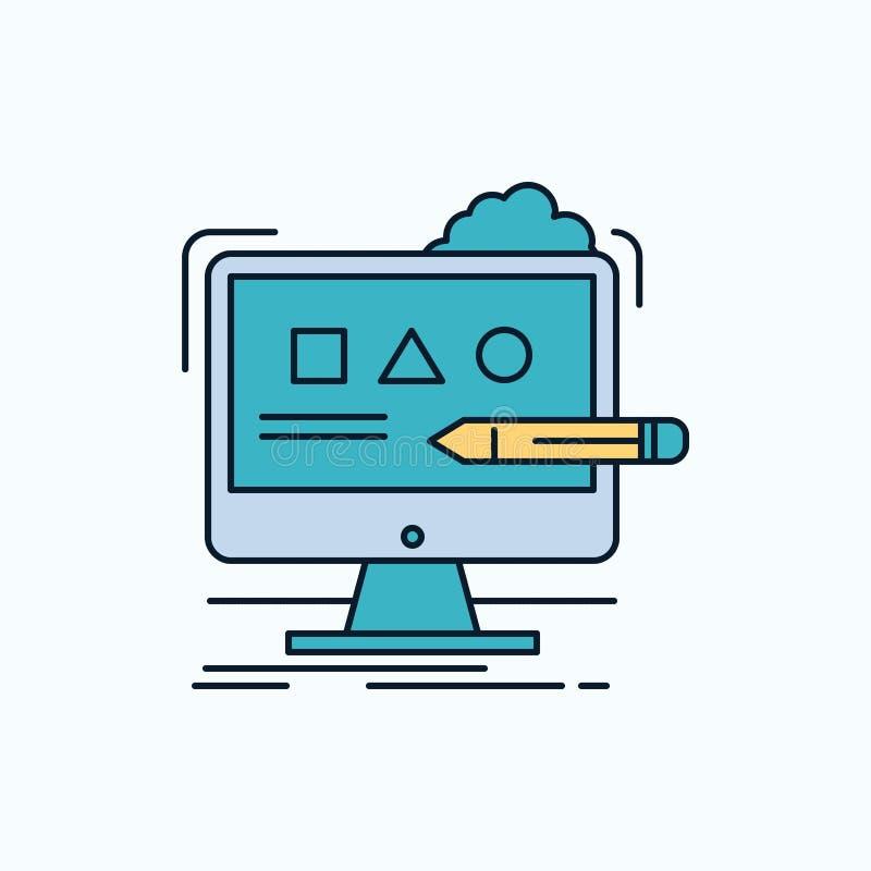 Kunst, computer, ontwerp, digitaal, studio Vlak Pictogram groene en Gele teken en symbolen voor website en Mobiele appliation Vec stock illustratie