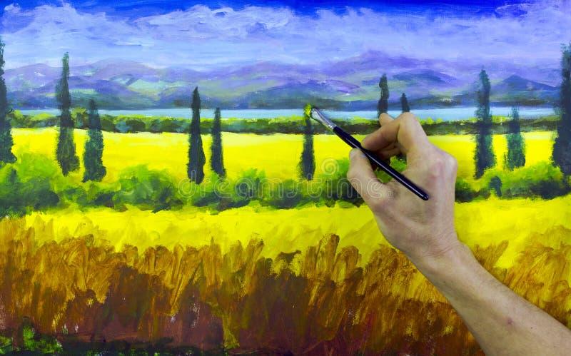 Kunst creatief proces De kunstenaar creeert het schilderen op canvas royalty-vrije stock foto's