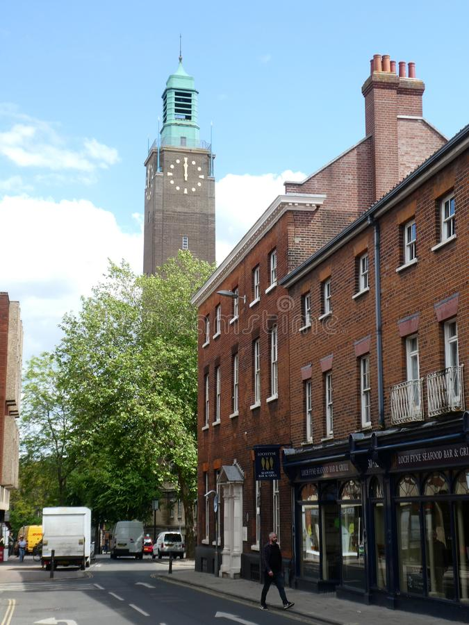 Kunst-Deco Norwich City Hall Tower, Norfolk, Gro?britannien lizenzfreies stockbild