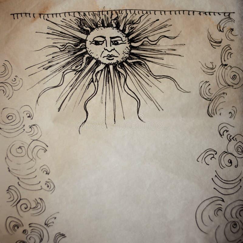 Kunst in der mittelalterlichen Art, mit alter Pergamentbeschaffenheit Feld von Locken und die Sonne mit einem menschlichen Gesich stockbild