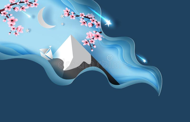 Kunst des Papiers 3d abstrakter Landschaft Kurve des Frühjahres des Berges Fuji Kirschblüten-Frühlings-Saison-Nacht Halbmond- und stock abbildung
