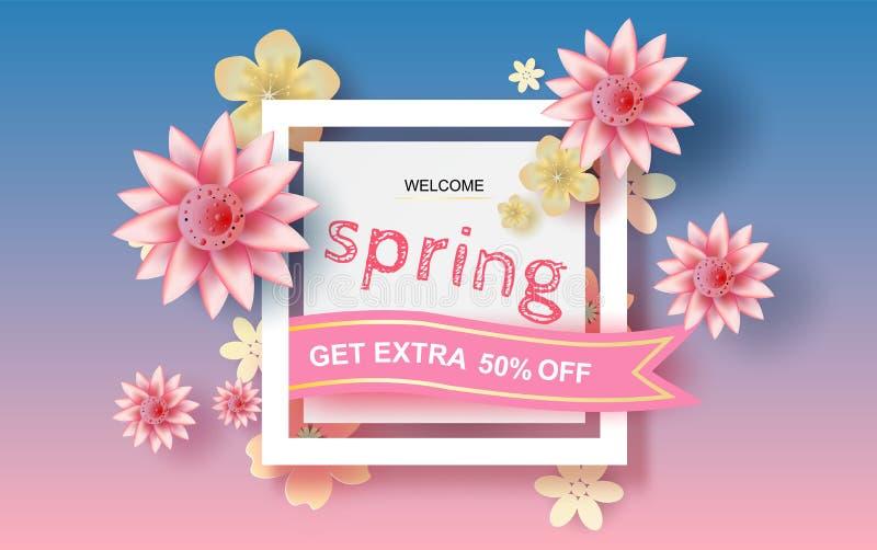 Kunst des Papiers 3D und Handwerk des Blumenrechteckrahmens mit Platz für Text, Frühlings-Saison-Blumenkonzept mit Blumen des Pas lizenzfreie abbildung
