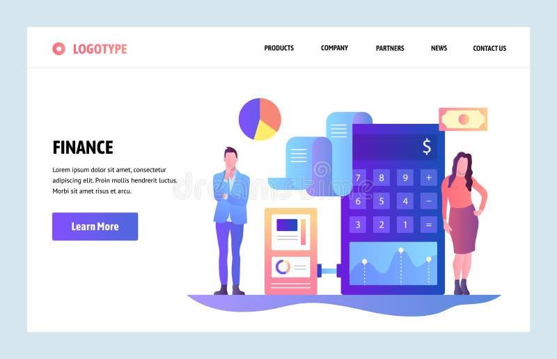 Kunst-Designschablone der Vektorwebsite lineare Finanz- und Buchhaltungsberatung Geldanlageunternehmensberater lizenzfreie abbildung