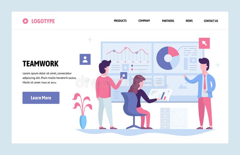 Kunst-Designschablone der Vektorwebsite lineare Geschäftsteam, das zusammen mit Finanzarmaturenbrett im Büro arbeitet landung stock abbildung
