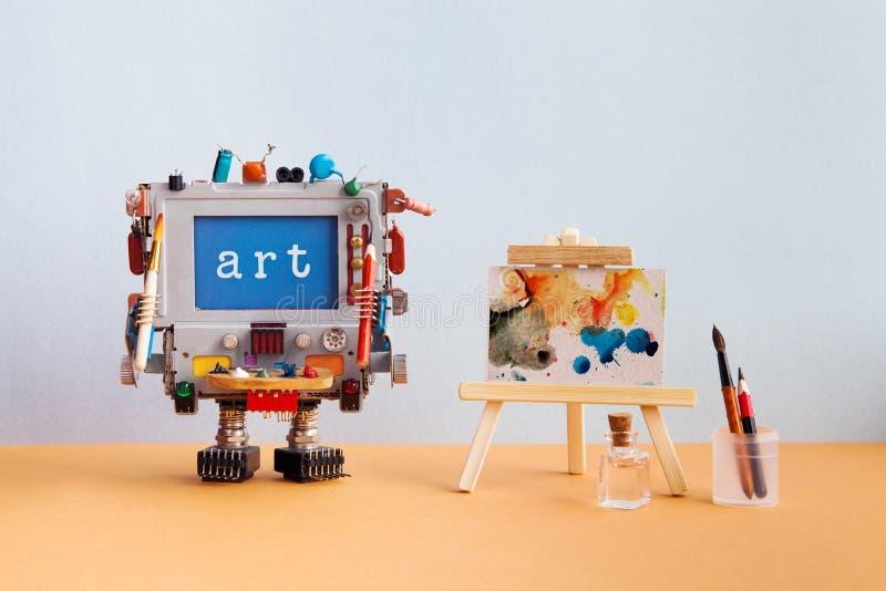 Kunst en kunstmatige intelligentieconcept Robotachtige computer met van het potloodborstel en bericht Kunst op het blauwe met de  royalty-vrije stock foto