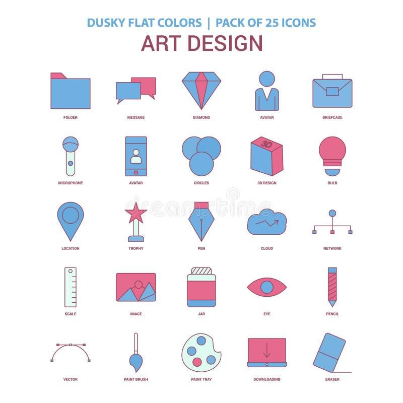 Kunst en Ontwerppictogram Duistere Vlakke kleur - Uitstekend 25 Pictogrampak royalty-vrije illustratie