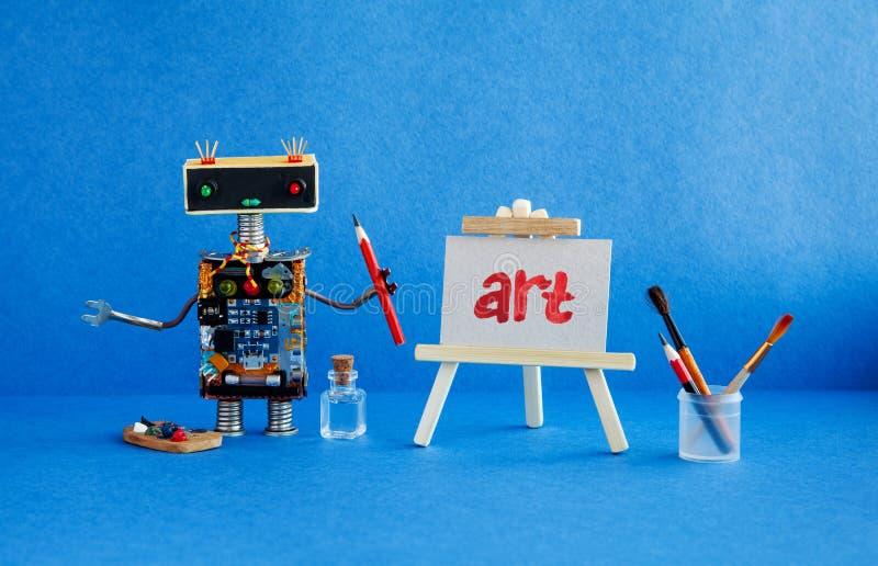Kunst en robotachtig kunstmatige intelligentieconcept Robotkunstenaar, houten schildersezel en het met de hand geschreven woordku royalty-vrije stock fotografie