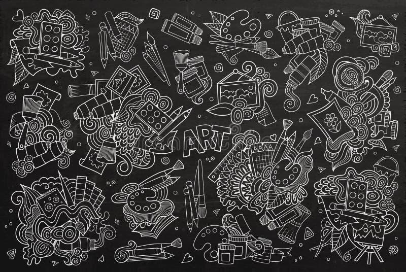 Kunst en verf het bordvector van materialenkrabbels vector illustratie