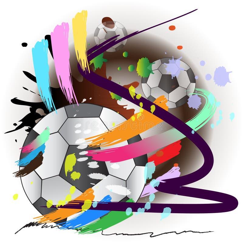Kunst en voetbal de stijl van de borstelslagen van de sportactie vector illustratie