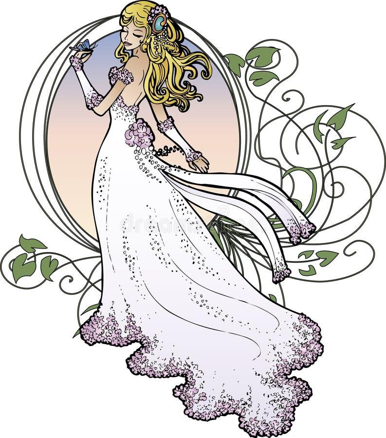 Kunst Nouveau Braut lizenzfreie abbildung