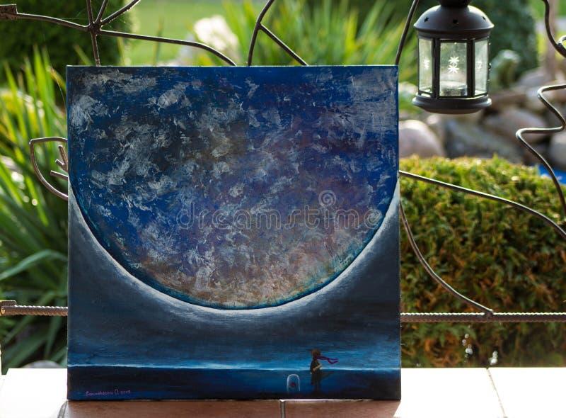 Kunst, olieverfschilderij Beeld ` Weinig ruimte van het Prins` Beeld Achtergrond stock afbeelding