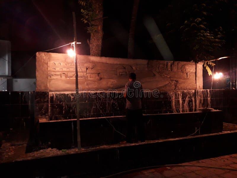 Kunst op nachtwijze, scenary van Mooie landelijke en stedelijke levensstijl, weg, vervoer enz. royalty-vrije stock foto's
