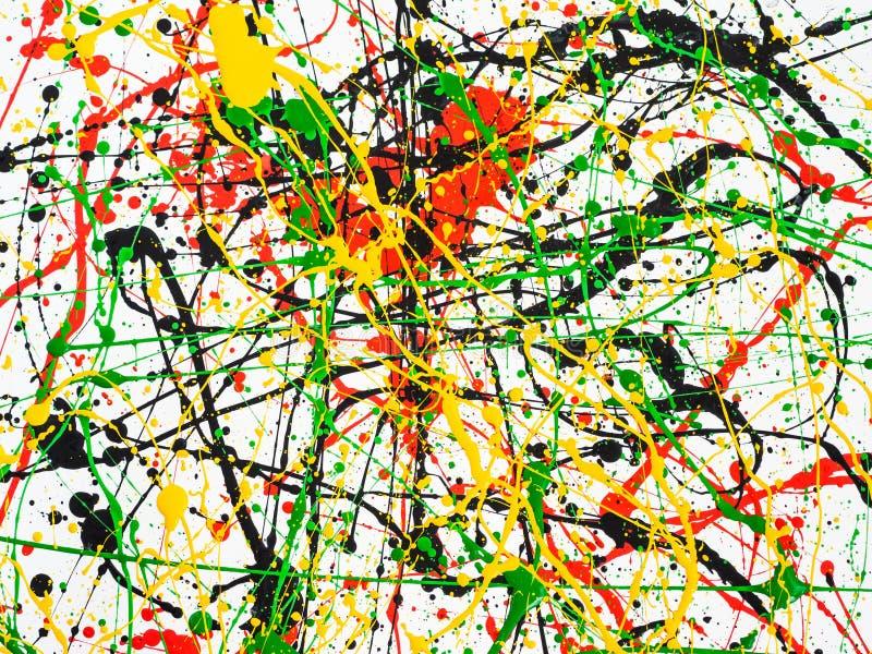 Kunst spritzte verschüttete rote schwarze Farbe des Gelbgrüns expressionismus stockfotos