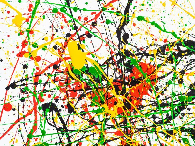 Kunst spritzte verschüttete rote schwarze Farbe des Gelbgrüns expressionismus lizenzfreie stockfotos