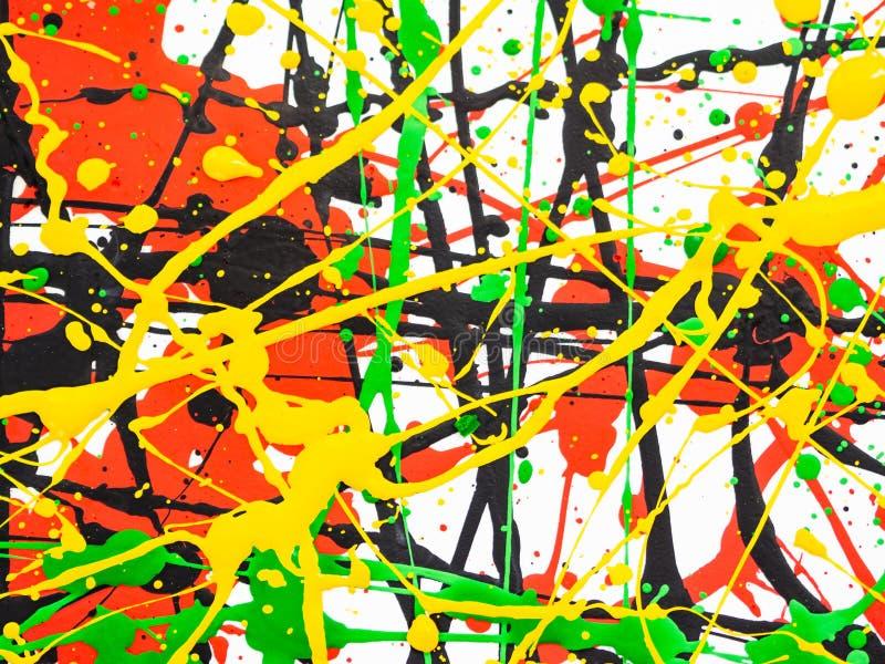Kunst spritzte verschüttete rote schwarze Farbe des Gelbgrüns expressionismus stockbilder