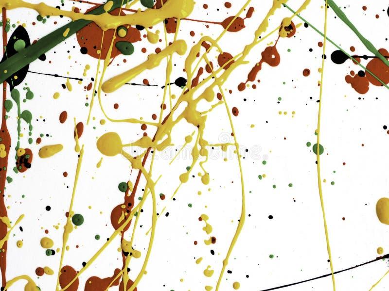Kunst spritzte verschüttete rote schwarze Farbe des Gelbgrüns expressionismus lizenzfreie stockfotografie