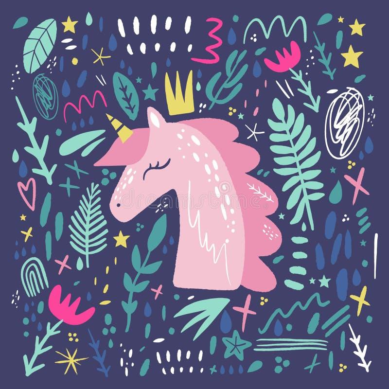 Kunst van de het kinderdagverblijfmuur van het eenhoornpatroon de vector, leuke, dierlijke drukken, de beelden van het de ruimted royalty-vrije illustratie