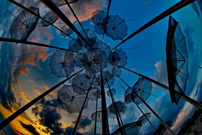 Kunst van paraplu's stock foto's