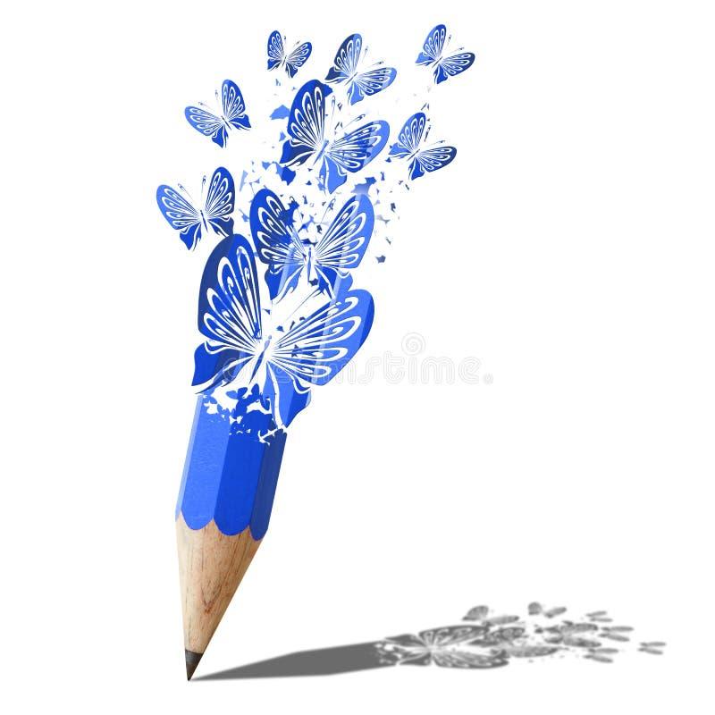 Kunst van vlinder blauw potlood. stock illustratie