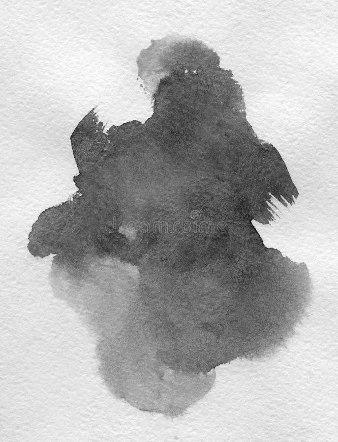 Kunst van Waterverf Zwarte vlek op waterverfdocument vector illustratie