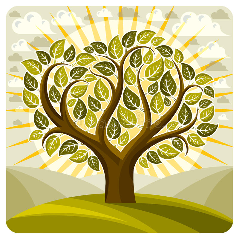 Kunst vector grafische illustratie van het creatieve boom groeien op wond royalty-vrije illustratie
