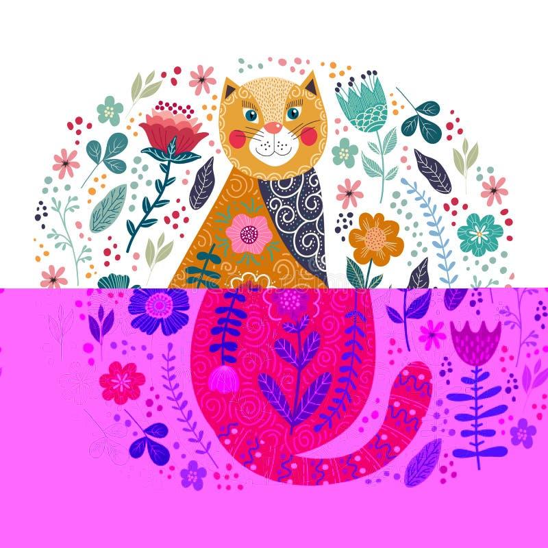 Kunst vector kleurrijke illustratie met leuke kat en bloemen op een witte achtergrond royalty-vrije stock fotografie