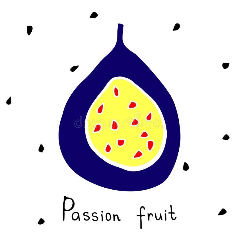 Kunst von den Maracujas - geschnitten mit Samen Tropische Frucht im modernen übersichtlichen Design vektor abbildung