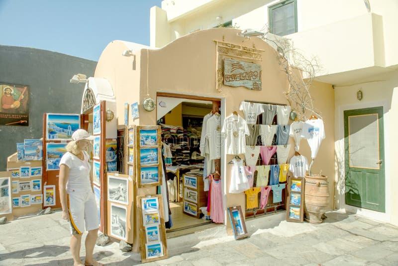 Kunst von Santorini lizenzfreies stockbild