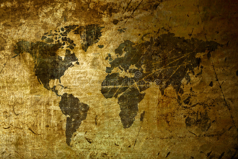Kunst-Weltkarte grunge stockfoto