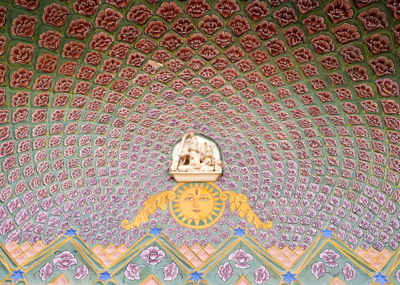 Kunstarbeit am Jaipur-Stadt-Palast stockbilder