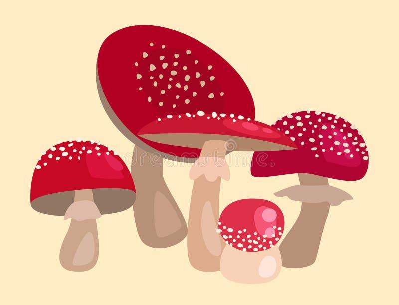 Kunstartdesignvektorillustrations-Rothut des Wulstlingsfliegenpilzgiftpilz-Ständerpilzes unterschiedlicher vektor abbildung