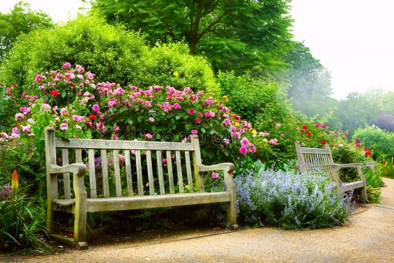 Kunstbank und -blumen morgens in einem englischen Park stockfotos