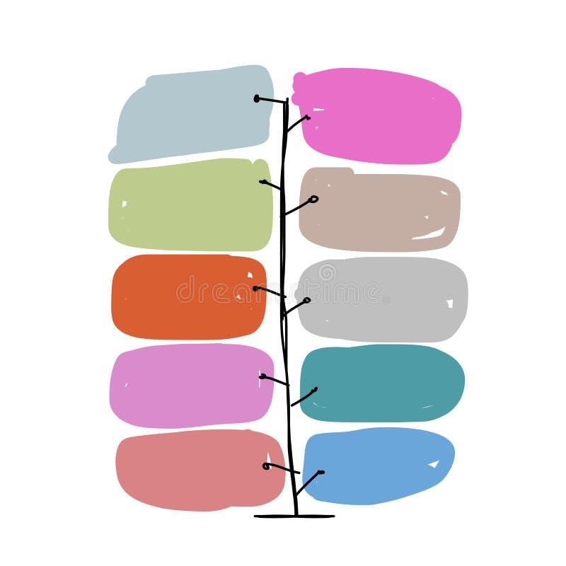 Kunstboom met kaders, infographic concept vector illustratie