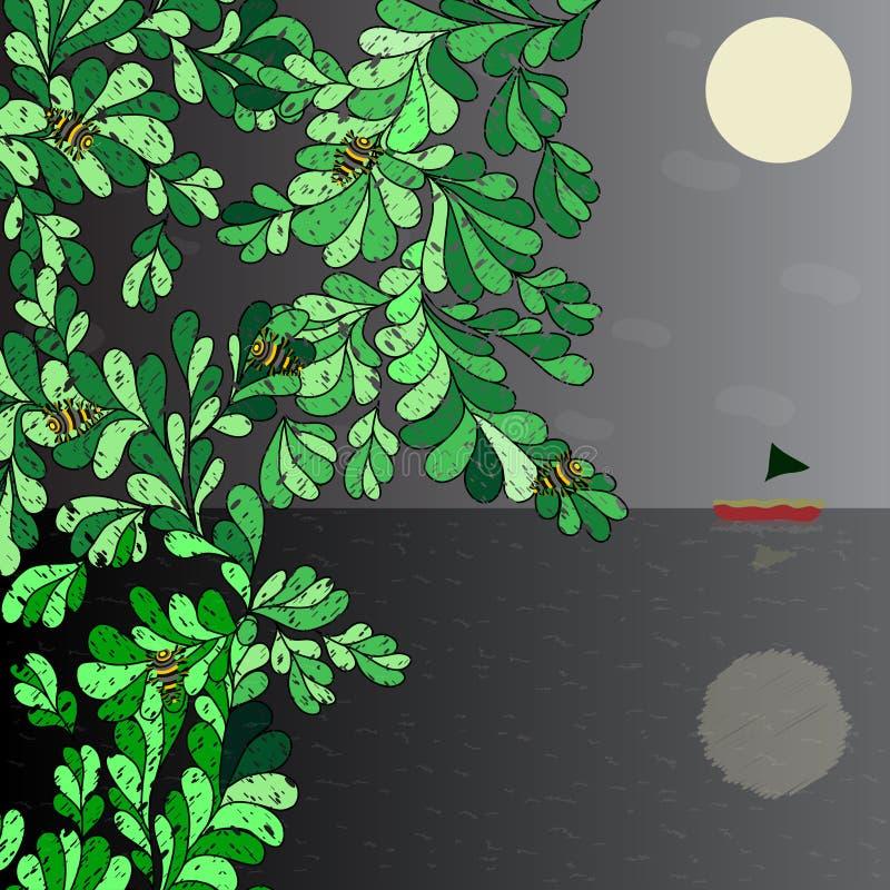 Kunstboot op de horizon, de maan in de kevers van de nachthemel op een boom vectorillustratie stock illustratie