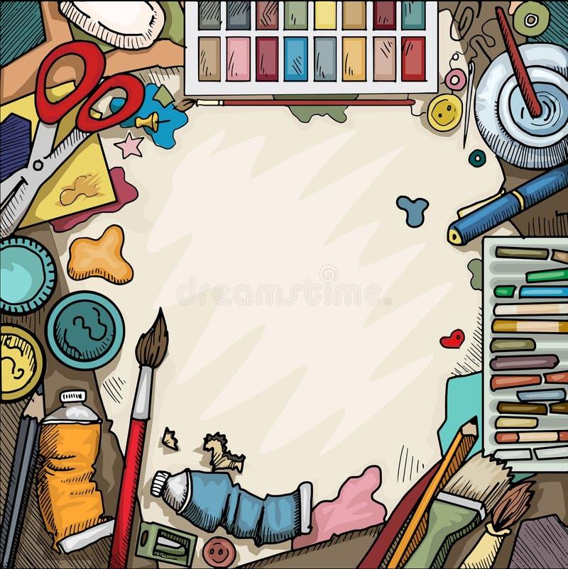 Kunsten en ambachtenlijst stock illustratie