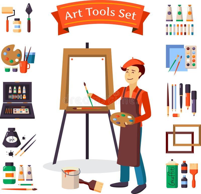 Kunstenaar And Art Tools Set royalty-vrije illustratie