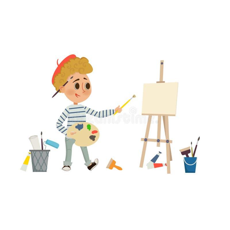 Kunstenaar Boy-het trekken en het schilderen beeld met borstel en palet op de schildersezel Kinderenkunst en het concept van de o stock illustratie