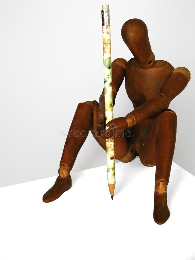 Download Kunstenaar Die Op Een Blanco Pagina Trekt Stock Foto - Afbeelding bestaande uit tekening, houten: 27262