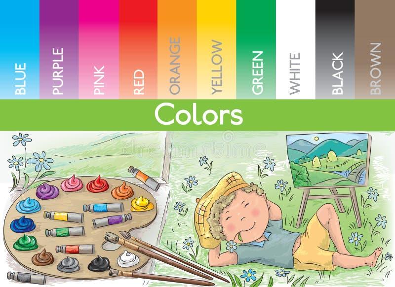 Kunstenaar en kleuren royalty-vrije illustratie