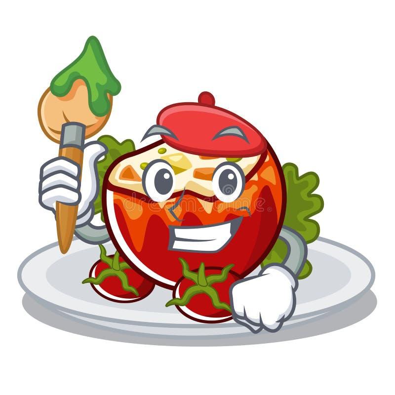 Kunstenaar gevulde tomaten gezet op karakterplaten stock illustratie