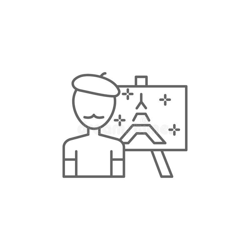 Kunstenaar, het schilderen pictogram Element van het pictogram van Parijs Dun lijnpictogram voor websiteontwerp en ontwikkeling,  stock illustratie
