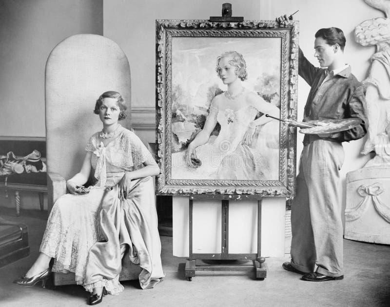 Kunstenaar het schilderen portret van stellende vrouw (Alle afgeschilderde personen leven niet langer en geen landgoed bestaat Th royalty-vrije stock afbeeldingen