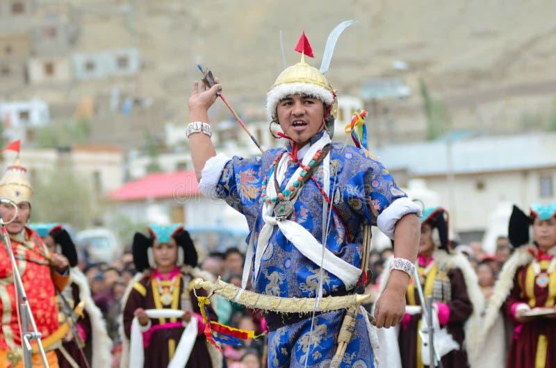 Kunstenaar op Festival van Erfenis Ladakh stock fotografie