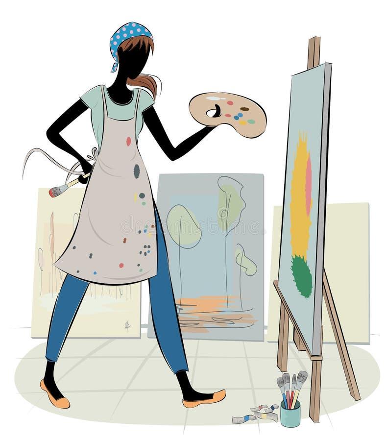 Kunstenaar op het Werk royalty-vrije illustratie