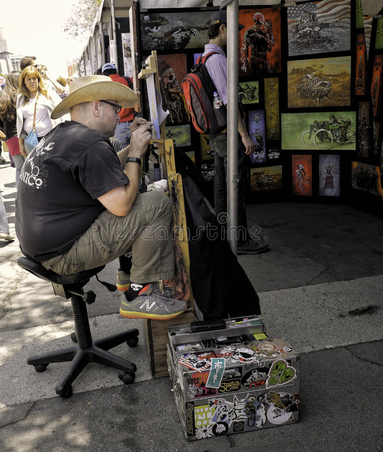 Kunstenaar Painting, ArtWalk, San Diego stock afbeelding