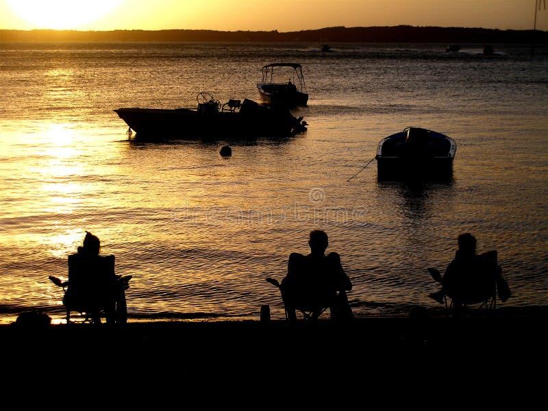 Kunstenaars bij zonsondergang royalty-vrije stock foto's