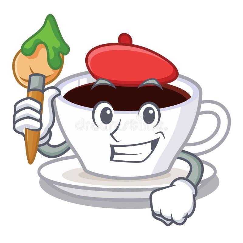 Kunstenaars latte macchiato met de mascotte wordt geïsoleerd die stock illustratie