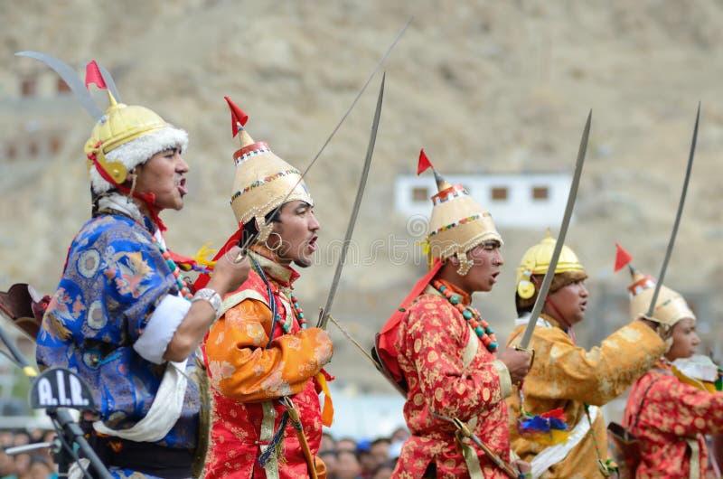 Kunstenaars op Festival van Erfenis Ladakh royalty-vrije stock foto's